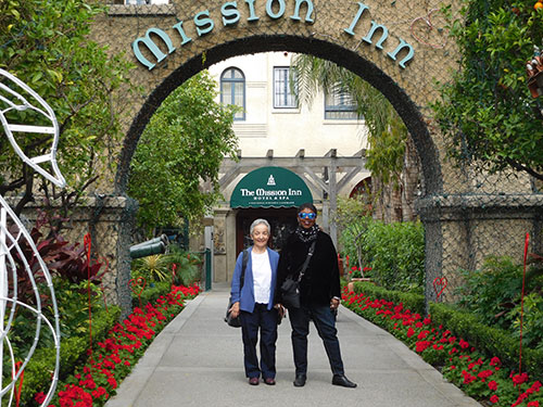 Shirley Williams and Nikki Grimes at the Mission Inn in Riverside, California