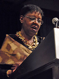Nikki Grimes accepting the Children's Literature Legacy Award
